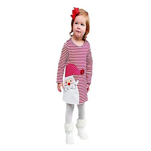 Gestreifte Prinzessin Dress Kleinkind Kinder Baby Mädchen Deer Weihnachts Outfits Kleidung