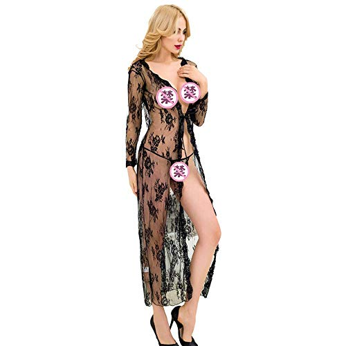MEN.CLOTHING-LEE Lingerie Sexy Lingerie di Grandi Dimensioni Pizzo Sexy Spacco Frontale Gonna Lunga A Maniche Lunghe M