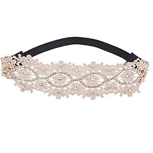 Lux Accessories Haarband, Blumen-Design, mit Strasssteinen, Beige