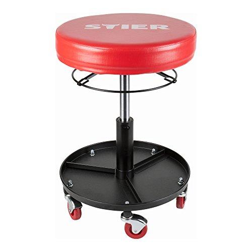 STIER Rollhocker für die Werkstatt, höhenverstellbar, Arbeitshocker, Drehhocker, Werkstatthocker, stabile Bauweise, gepolsterte, komfortable Sitzfläche