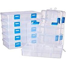 BENECREAT 8 Pack 8 Compartimientos Caja Organizadora de Joyas con Separadores, Contenedor para Guardar Cuentas