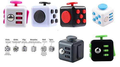 Fidget Toy Cube Relieves Stress and Anxiety for Children and Adults (Black/Green)