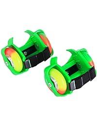 Qianle Kids rodillos talón patines --- Heelys con luz intermitente talón patines, verde