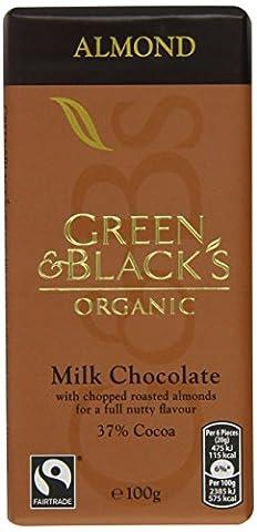 Green & Black's Organic Chopped Almond Milk Chocolate Bar, 100g (Pack of 5)