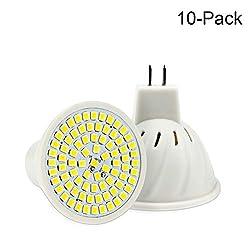 JUMRO GU5.3 LED Lampen MR16 LED Birne 6W Entspricht 60W Halogenbirne,DC12V, 600LM,120 ° Abstrahlwinkel, LED Strahler Schienenbirne, 10 Packungen,Warmwhite(2800k~3200k)