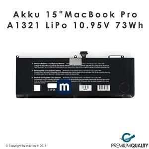 Akku A1321 für MacBook Pro 15 Zoll Unibody MB985 MB986 MC118 MC371 MC372 MC373 73Wh LiPo 10.95V inklusive OecherWolke.de Gutschein Versand aus Deutschland von macteq