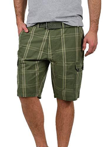 Blend Hans Herren Cargo Shorts Bermuda Kurze Hose Mit Gürtel Aus 100% Baumwolle Regular Fit, Größe:L, Farbe:Dusty Green (70595) -