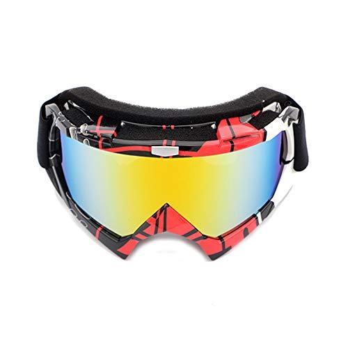 Gnzoe PC Motorradbrillen Radsportbrille Snowboardbrille Schutzbrillen Schneebrille Outdoor Schutz Brille für Motorrad Fahrrad Helmkompatible/Rot