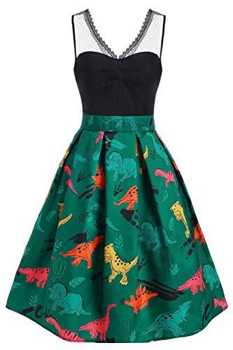 Hotelvs Damen 1950er Vintage Retro Cocktailkleider Ärmellos Abendkleid Rockabilly Kleid Vintage-kleid