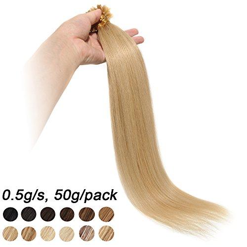 50cm extension capelli veri con cheratina 100 ciocche 50g/pack u-tip allungamento remy human hair, 24# biondo naturale