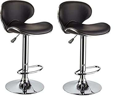Black & Chrome Swivel Bar Kitchen Breakfast Stools Chair BN1008 X 2