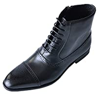 Men Round Toe Leather Short Boots, Male Solid Lace up Breathable Side Zipper Mid-calf Boots