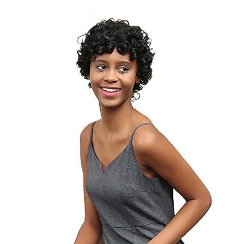 Beauty Top Femme court Noir Marron Frontcurly Coiffure Cheveux synthétiques Perruques pour femme