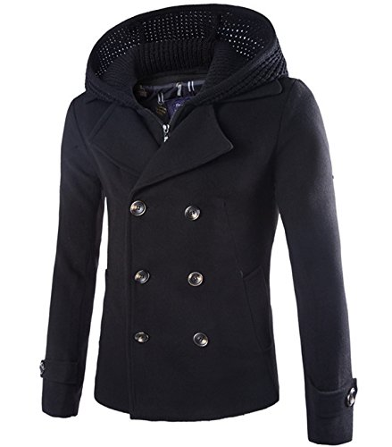 Herren warm Zweireiher Wollmantel Cabanjacke Kurzmantel Winter Jacke schwarz Gr.M