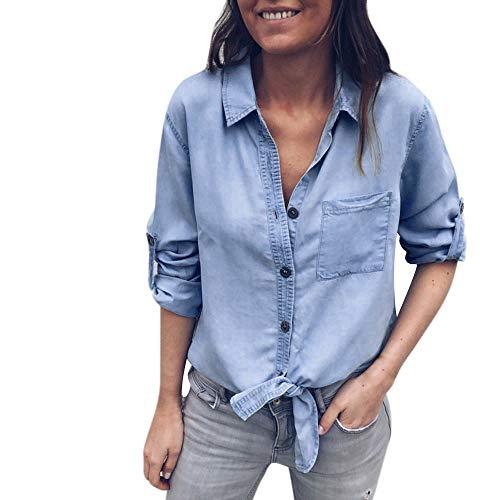VEMOW Heißer Elegant Damen Frauen Solide Denim Cuffed Hülse Bandage Casual Täglichen Training Langarmshirt Bluse(Hellblau, 38 DE/S CN) -