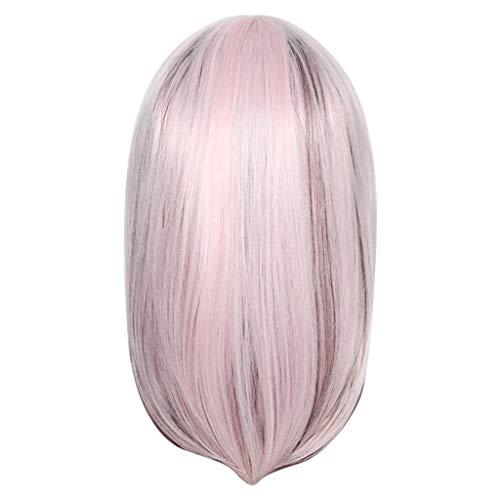 BfmyxgsMischfarbe Bobo Perücke Stirnband schräge Pony Schnalle lange Urlaub Persönlichkeit coole Perücke Haare setzt Schulter kurzes Haar
