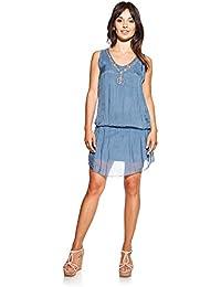 Laura Moretti - Vestido de seda con escote en V, bordados y lentejuelas
