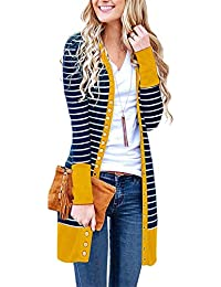 Evelife Womens Striped Cardigans Long Sleeve Knitwear with Ribbed Neckline  Snap Button Down UK8-24 366acdda41e