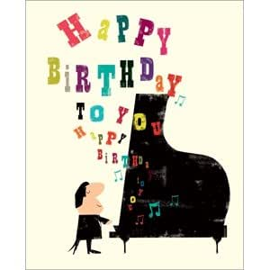 Carte d'anniversaire–– ja22–Drops Femme–PIANO ET Note de musique Design