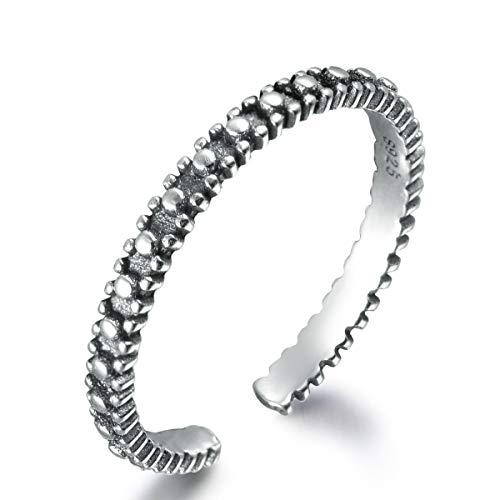 snorso 925Sterling Silber Daumen Ring für Frauen Thai Silber Farbe Boho Stil Ewigkeit Band Ring