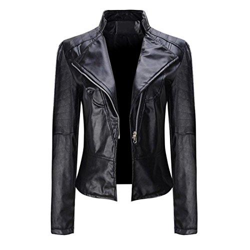 Winter Leder Jacke Damen Btruely Warm Dick Parka Kurz Slim Outwear Mädchen Mantel Lederjacke (XXL, Schwarz) (Hoody Freund)