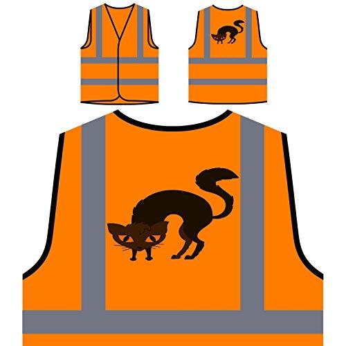 Katze Halloween Smiley Personalisierte High Visibility Orange Sicherheitsjacke Weste r544vo