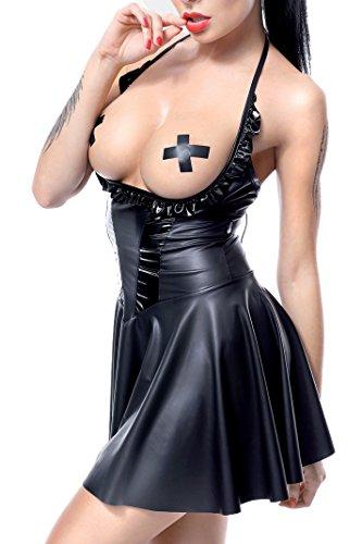 Schwarz glänzendes Erotisches Damen Fetisch Wetlook Neckholder Minikleid Dehnbar mit Schnürung und Metallösen Gogo Kleid L