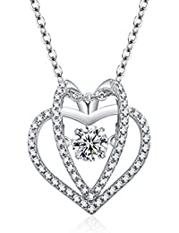 ♥Mother's Day Gifts♥- Double Heart Necklace Heart Pendant RAYDOES Necklace for Women,Anniversary& Valentine's Day, Happy Easter