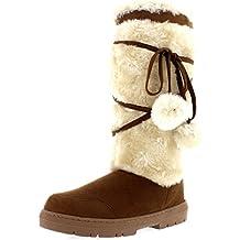 Mujer Pom Pom De Altura Invierno Forrada De Piel Lluvia Zapato Botas