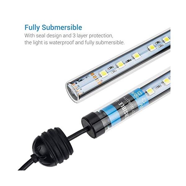 NICREW Underwater LED Aquarium Light, Submersible Fish Tank Light, White, 2W