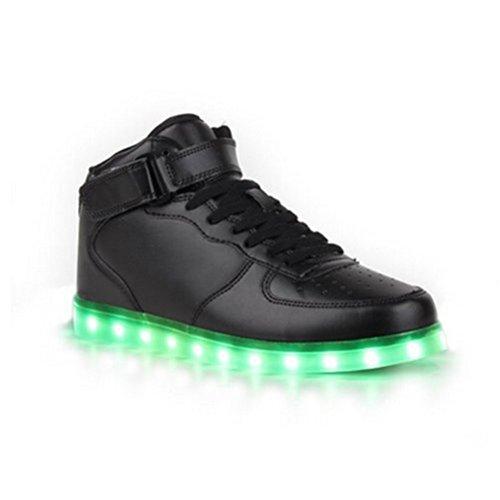 [Présents:petite serviette]JUNGLEST - 7 Couleur Mode Unisexe Homme Femme USB Charge LED Lumière Lumineux Clignotants Chaussures de marche Chaussures de Sports High-Top de Velcro Noir