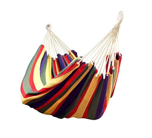 comprare on line Lumaland amaca in cotone, circa 210 x 150 cm, carico massimo 300 kg arcobaleno rosso, kit di fissaggio e borsa inclusi prezzo