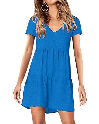 kenoce Kleider Damen Sommer Sommerkleid Damen Knielang Kurzarmkleider Tunika Kleid Swing Einfarbig Minikleid A-Blau XXL -