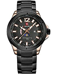 correa de acero inoxidable casual de negocios calendario de los hombres del dial del reloj multifuncional exclusiva clásica duradera negro decente
