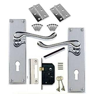 Victorian Scroll Polished Chrome Door Handle Lock Pack +2 Lever Lock +Hinges (KA)