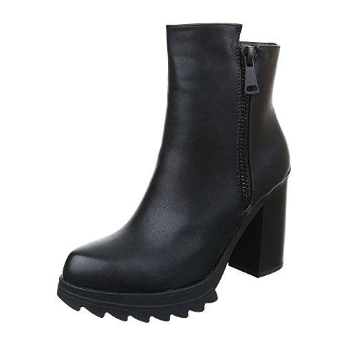 Damen Schuhe Leicht Gefütterte Schlupfstiefel Reißverschluss Klassische Stiefeletten Stiefeletten Blockabsatz Schwarz