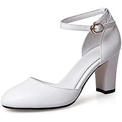 Oberflächlichen Trends Frühling Schuhe/Art und Weiseschuhe mit hoher Ferse/Runde Kopf Schnalle klobige Heels Schuhe/Trend Schuhe-B Fußlänge=21.3CM(8.4Inch)