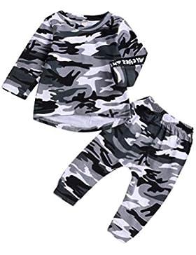 Conjuntos Bebe, ASHOP 0-5 años Niño Niña Otoño/Invierno Ropa Conjuntos, Camisa de Camuflaje Tops + Pants