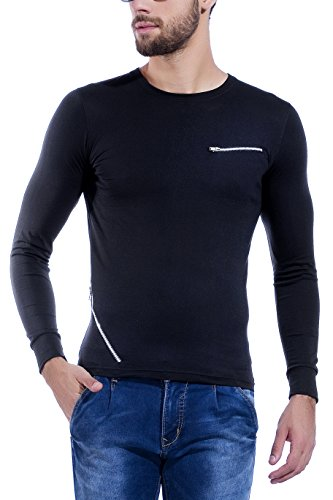 Maniac Self Design Men's Round Neck Black T-Shirt