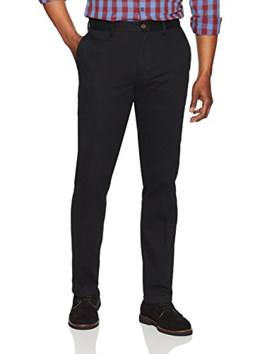 Amazon Essentials Slim-Fit Wrinkle-Resistant Flat-Front Chino Pant Pants, Negro, 33W x 32L