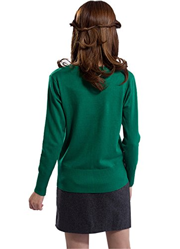 DaBag Verde Cardigan Collo V Maglieria Cotton Tinta Unita Donna Vestito in Maglia Manica Lunga Elegante Maglione Knit Autunno Inverno Casual Sweater Maglietta Top Corte Felpe Verde