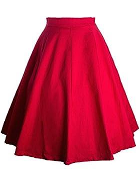 Yonglan Mujer Vintage Floral Faldas Swing Full Circle Casual Falda Retro Plisada Falda Rojo XL
