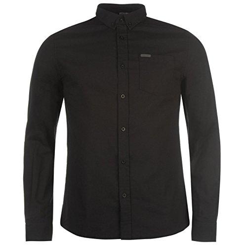 Firetrap Herren Basic Oxford Shirt Business Hemd Knoepfen Langarm Freizeithemd Schwarz Medium -