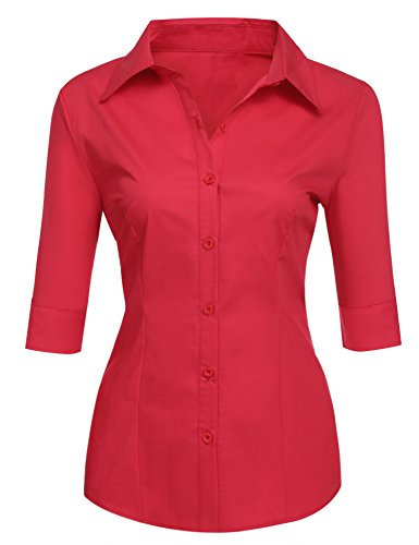 BeautyUU Damen Bluse Slim Fit Damenhemd Damenbluse Hemd Rot XL