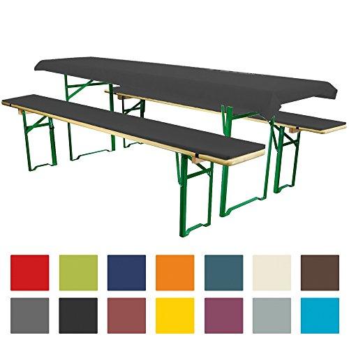 Bierbankauflagen Set 3teilig Comfort XS für 50cm Tische Schwarz