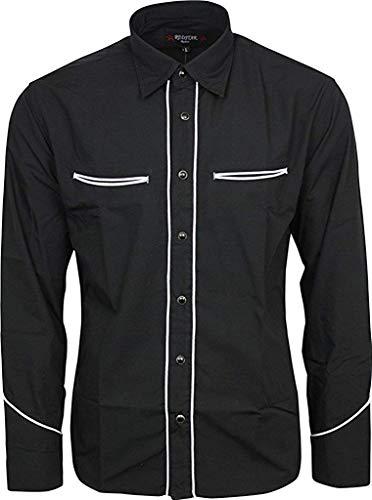 Relco Negro Liso Cowboy del Oeste con Ribete Blanco Camisa Manga Larga - Negro, M