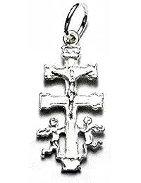 Cruz colgante plata pley 925m Caravaca 23mm. virgen detrás [AA0965]