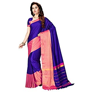 Ashika Woven Tussar Silk Dark Blue Banarasi Saree for Women with Blouse Piece