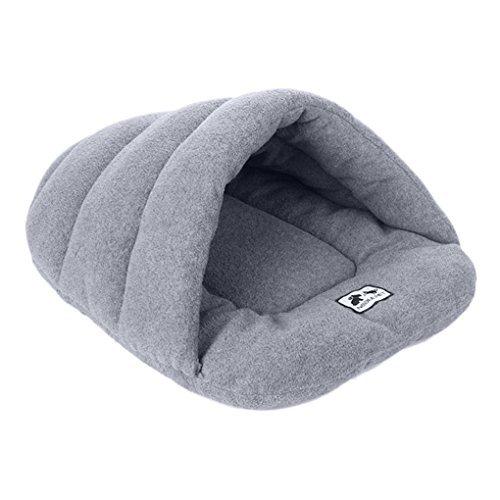 Lussuoso lettino per cani, gatti e conigli coperto a metà, molto comodo, con cuscini rotondi, tappetino e coperta, a forma di caverna