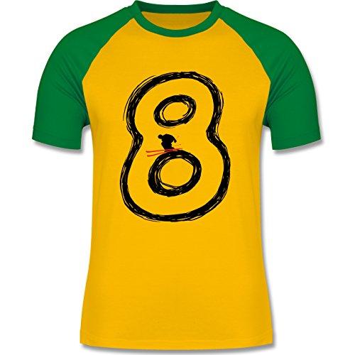 Wintersport - Acht Ski Endlosschleife - zweifarbiges Baseballshirt für Männer Gelb/Grün